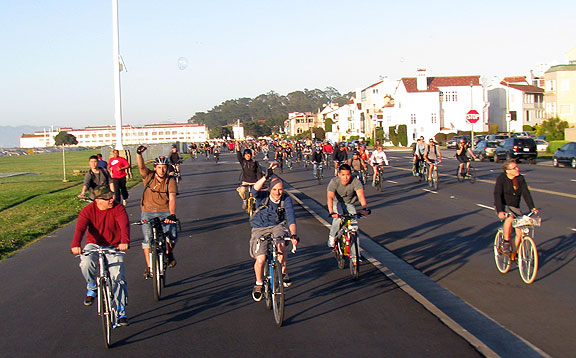 Riding down Marina Boulevard towards the Wave Organ on a perfect evening, May 31, 2013.